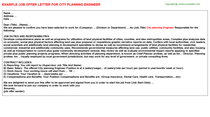city planning engineer offer letter template