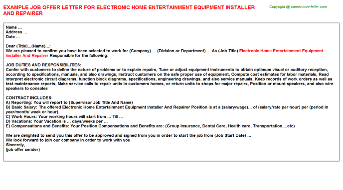 Electronic Home Entertainment Equipment Installer And Repairer Offer Letter Template