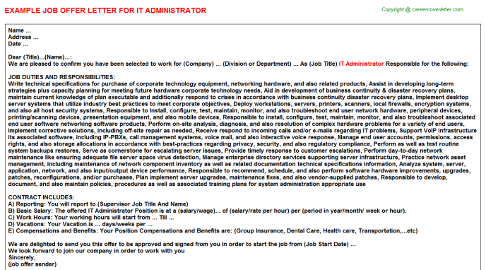 IT Administrator Offer Letter Template