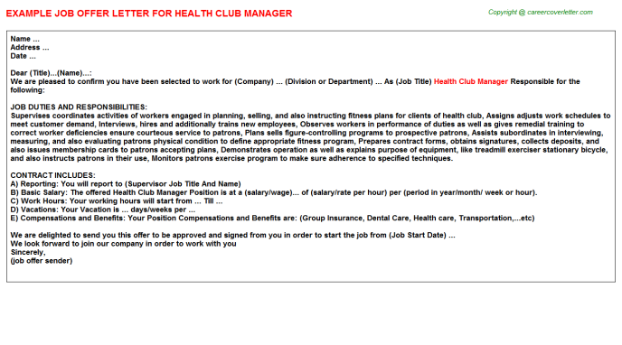 health club manager offer letter template