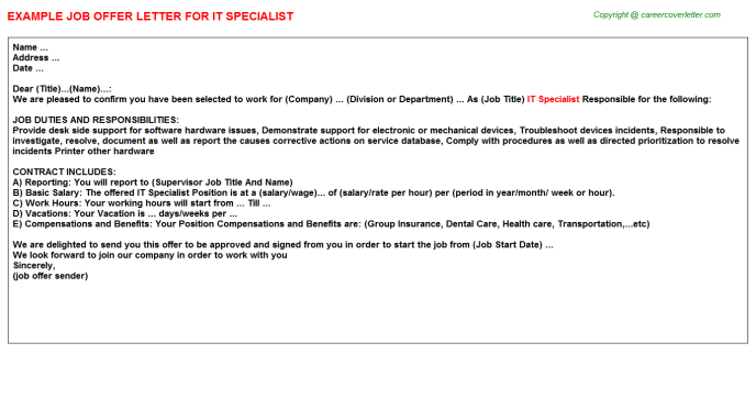 IT Specialist Offer Letter Template