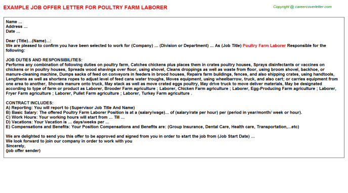 Poultry Farm Laborer Offer Letter Template