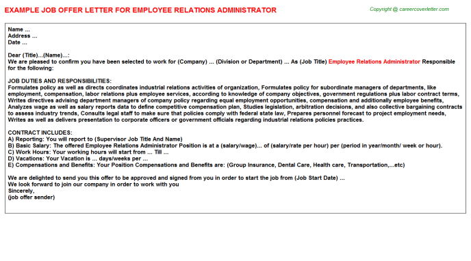 employee relations administrator offer letter template