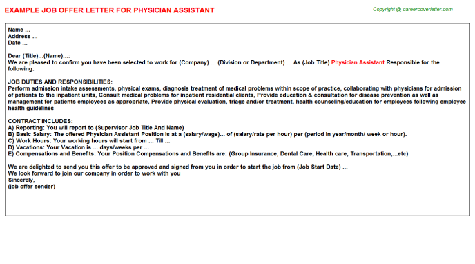Physician Assistant Offer Letter Template