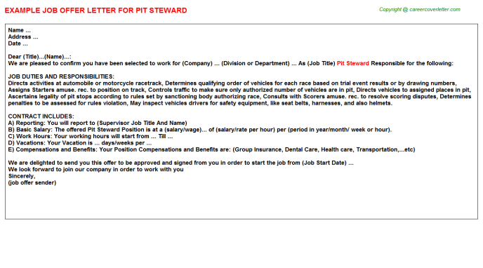 Pit Steward Job Offer Letter Template