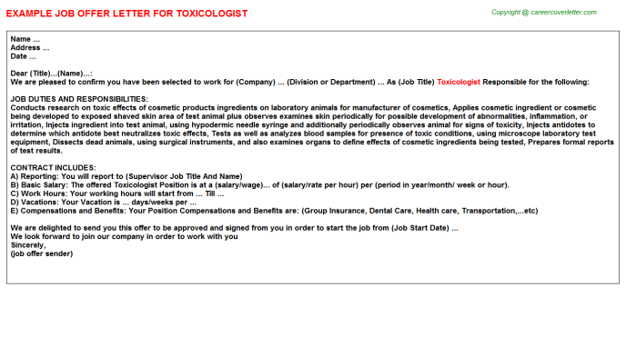 Toxicologist Job Offer Letter Template