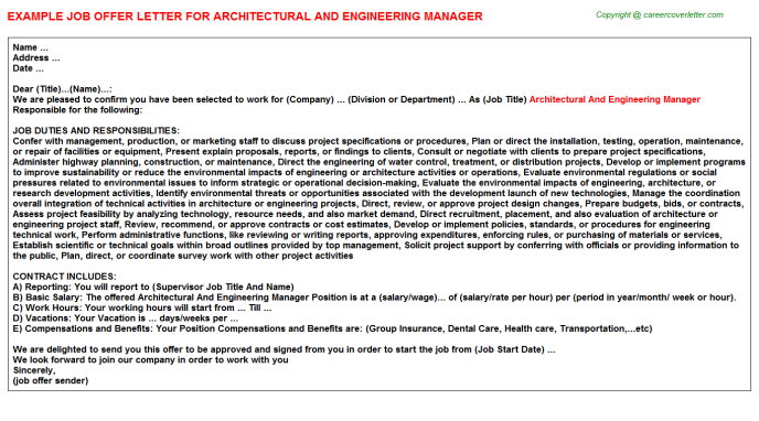 architectural and engineering manager offer letter template