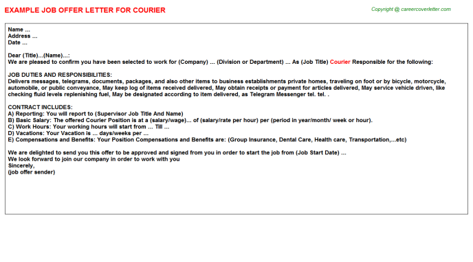 Courier Job Offer Letter Template