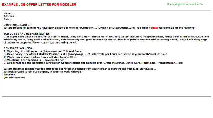 Modeler Job Offer Letter Template
