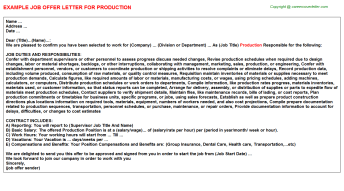 Production Offer Letter Template