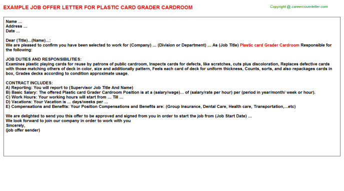 plastic card grader cardroom offer letter template