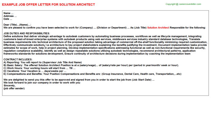 solution architect offer letter template