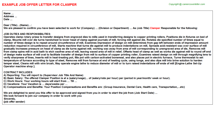 Clamper Offer Letter Template