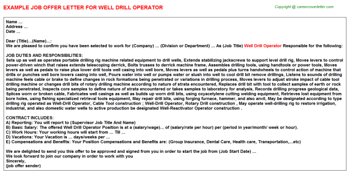 Well drill Operator Offer Letter Template