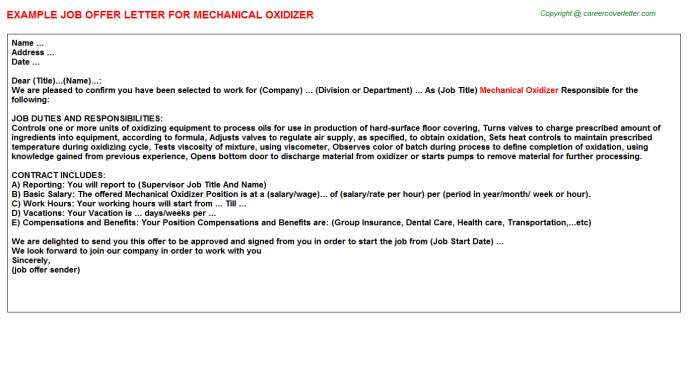 Mechanical oxidizer job offer letter (#11382)
