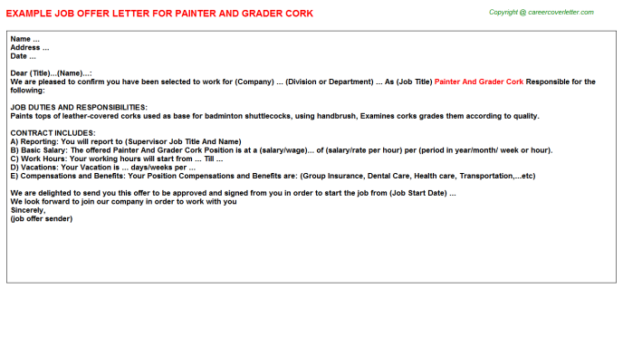 painter and grader cork offer letter template