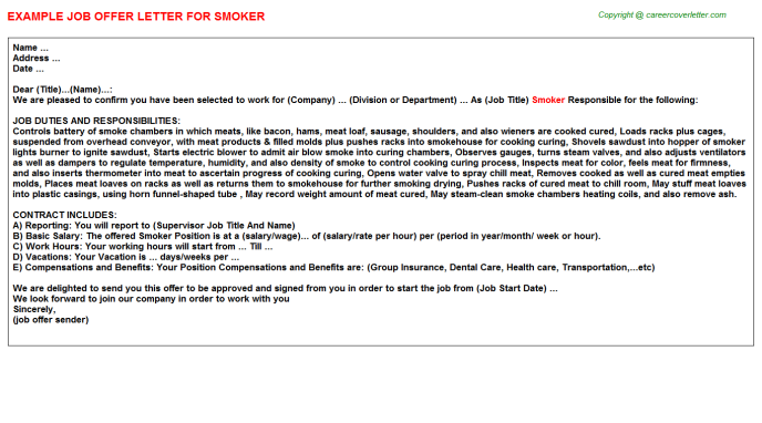 Smoker Job Offer Letter Template