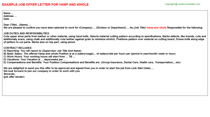 Vamp and whole Offer Letter Template