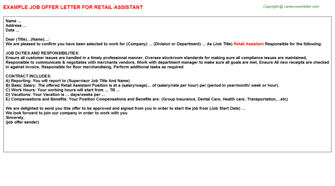 Retail Assistant Offer Letter Template