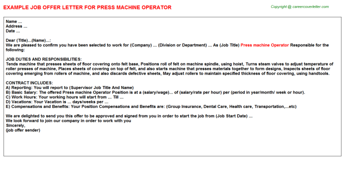 Press Machine Operator Job Offer Letter Template