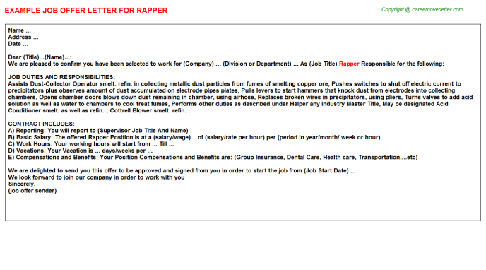 Rapper Job Offer Letter Template