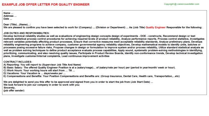 Quality Engineer Offer Letter Template