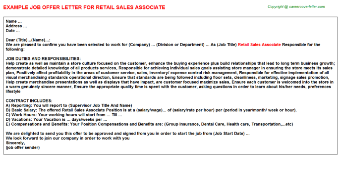 Retail Sales Associate Offer Letter Template