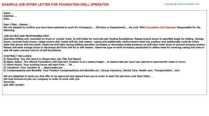 Foundation drill Operator Offer Letter Template