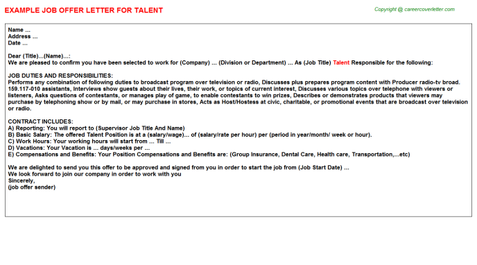Talent Offer Letter Template