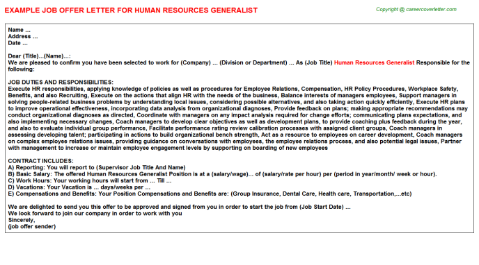 Human Resources Generalist Offer Letter Template