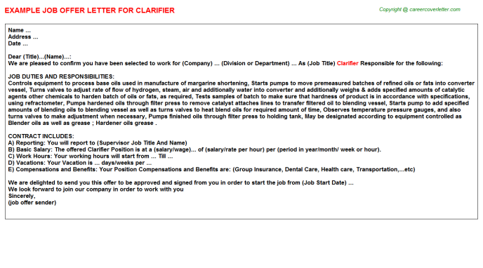 Clarifier Offer Letter Template