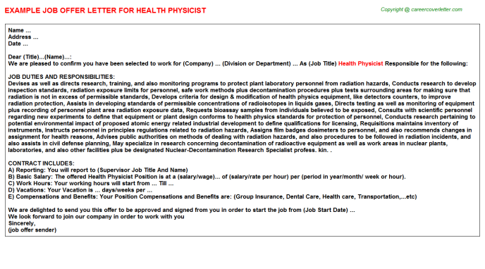 Health Physicist Offer Letter Template