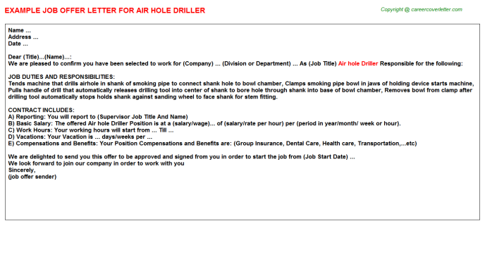 Air hole Driller Offer Letter Template