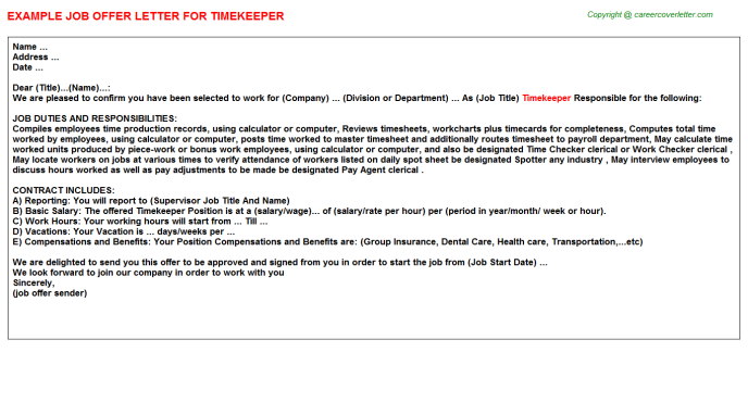 Timekeeper Job Offer Letter Template