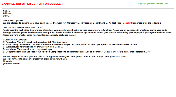 Doubler Offer Letter Template
