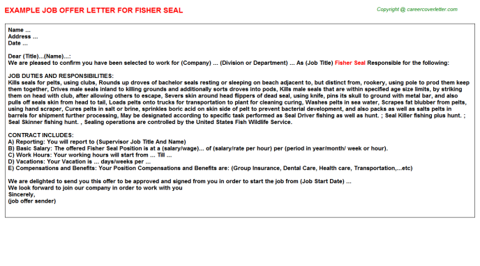 Fisher Seal Job Offer Letter Template
