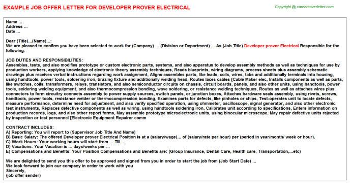 Electrical Draftsman Job Offer Letters Examples
