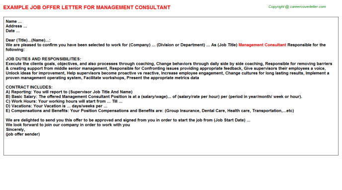 Management Consultant Job Offer Letter Template