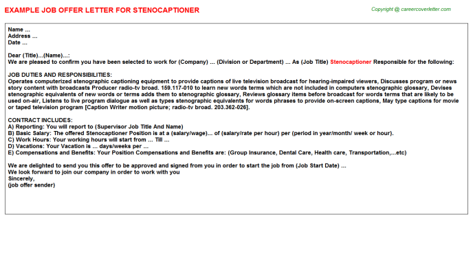 Stenocaptioner Offer Letter Template