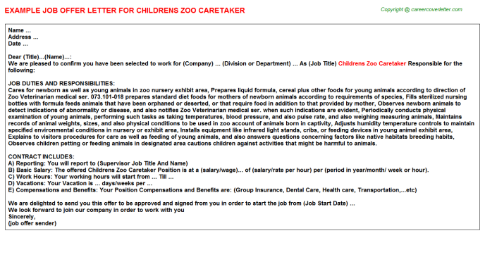childrens zoo caretaker offer letter template