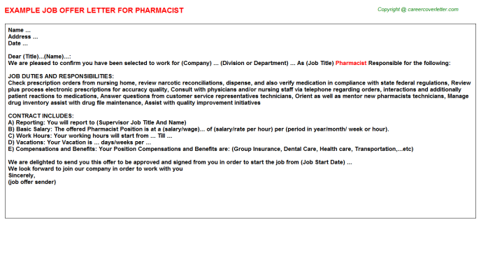 Pharmacist Offer Letter Template