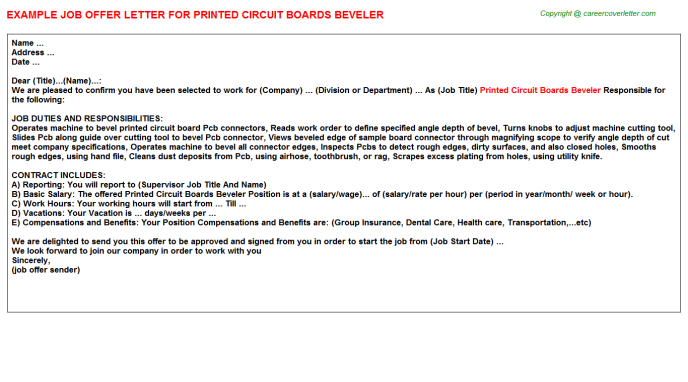 printed circuit boards beveler offer letter template