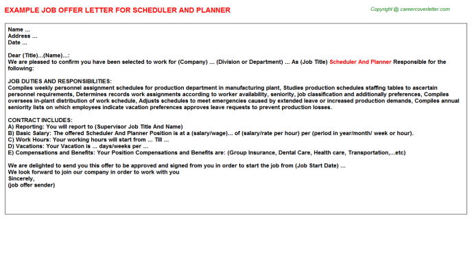 scheduler and planner offer letter template
