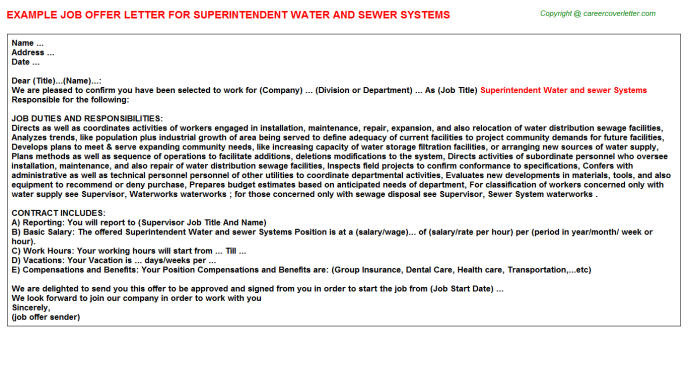 Superintendent Water and sewer Systems Offer Letter Template