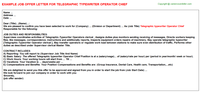Telegraphic Typewriter Operator Chief Offer Letter Template