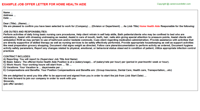 Home Health Aide Offer Letter Template