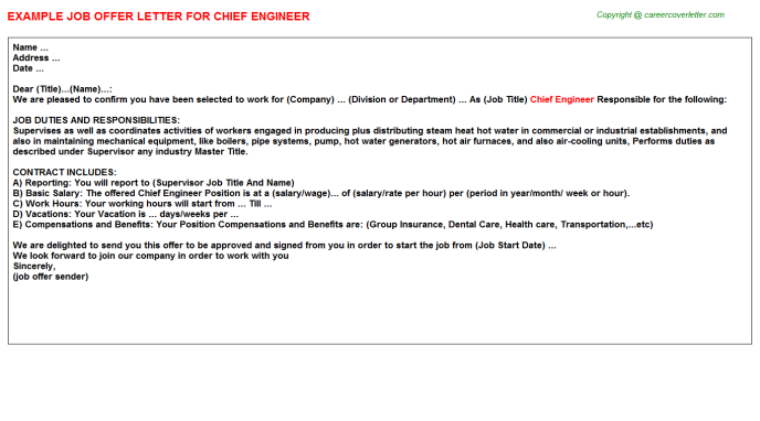 Chief Engineer Offer Letter Template