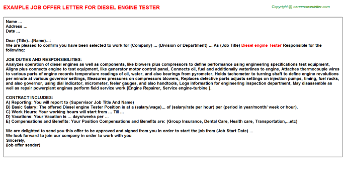 Diesel engine tester job offer letter (#12397)