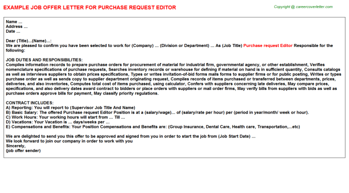 purchase request editor offer letter template