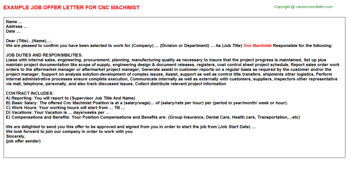 cnc machinist offer letter template